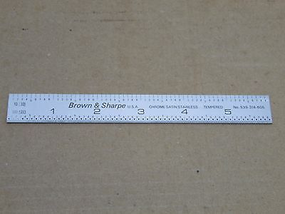 """Brown and Sharpe no. 599-314-605 6"""" tempered satin chrome scale"""