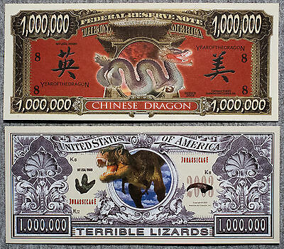 Set of 2 diff. fantasy paper money dragon and dinosaur
