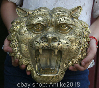 26.5CM Chinese Copper Exorcise Evil Spirits Tiger Head Mask Statue Hanging Wall