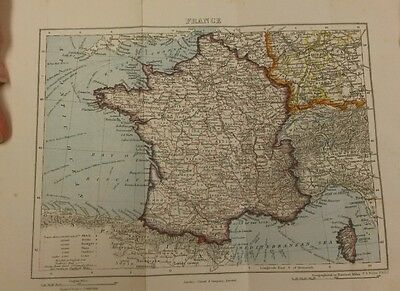 Victorian Map of France in Colour 22cm by 16cm Book Plate Cassell & Co 1901