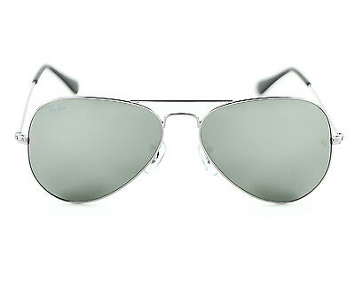 Ray Ban RB3025 Aviator Classic Silver Frame/Grey Mirror Lens Sunglasses 55mm