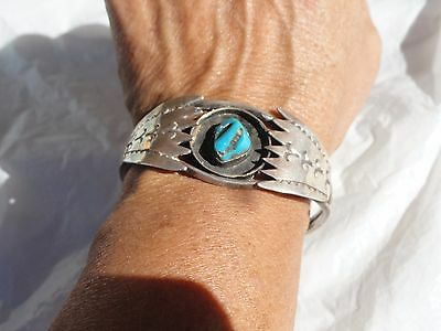 Old Pawn Native American Navajo bracelet sterling silver turquoise 1930s 19.3 gr