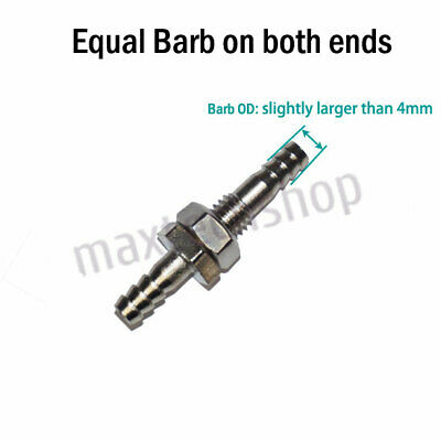 """1/8"""" 4mm Brass Bulkhead Fitting Hose Barb Mender Pipe Tube Fuel Water Boat Air"""