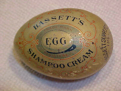 Antique Bassett's Advertising Egg Shampoo Cream Vintage Tin Rochester, NY