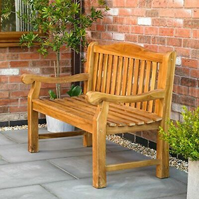 Kingfisher Ornately Curved Teak Bench Outdoor Patio Heavy Duty Garden Furniture