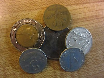 x6 Original Italy Coins, Various Ages & Denominations