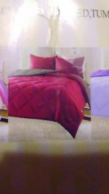 Reversible Goose Down Alternative Comforter Sham 3 PC Set 90 GSM - burgundy/grey