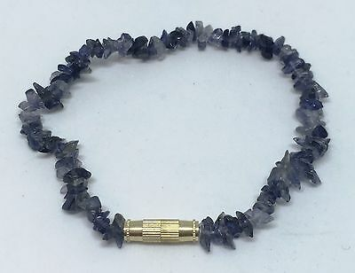 19cm Twist Clasp Lolite Tumbled Stone Chip Bracelet Anklet Jewelry Gift