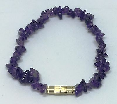 19cm Twist Clasp Amethyst Tumbled Stone Chip Bracelet Anklet Jewelry Gift