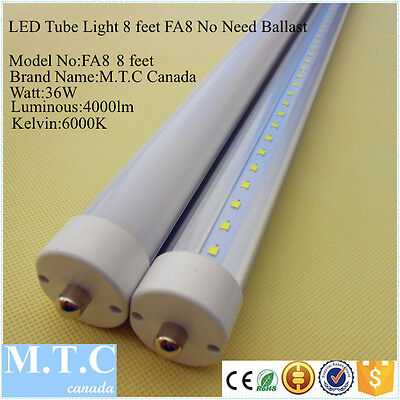LED T8 8 Feet Tube Light FA8 Model Single Pin 36W 4000lm 6000K No Need Ballast