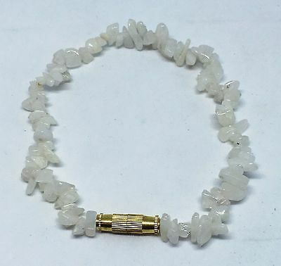 19cm Twist Clasp White Moonstone Tumbled Stone Chip Bracelet Anklet Jewelry Gift