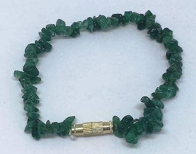 19cm Twist Clasp Emerald Tumbled Stone Chip Bracelet Anklet Jewelry Gift