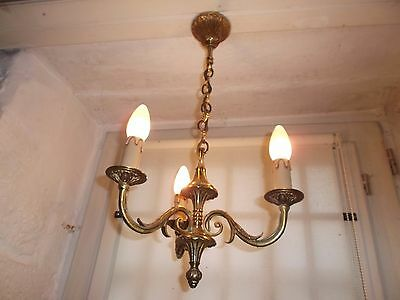French  vintage 3 light chandelier ornate  bronze classic  interior