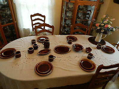 Brown Drip Dinnerware Set for (6) with/7 Serving Pieces 6-2