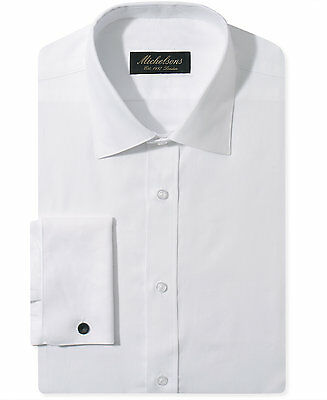NWT $277 MICHELSONS Men SLIM-FIT FRENCH-CUFF WHITE TUXEDO DRESS SHIRT 15 34/35 M