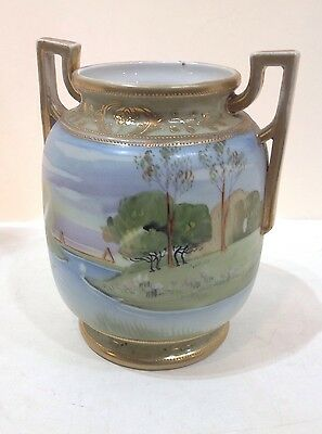 Nippon porcelain vase. blue Maple Leaf mark. sailboats landscape. Antique
