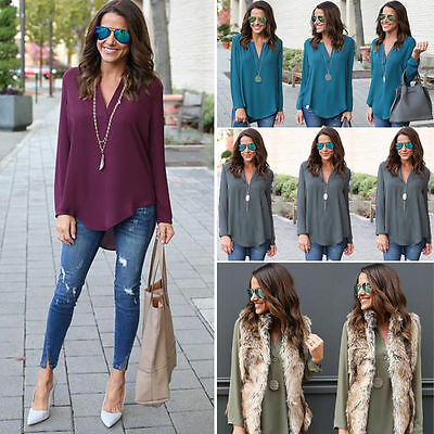 NEW Womens Loose Casual Tops Long sleeve V neck T Shirt Blouse Ladies beach Top