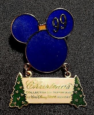 Retired 1999 Disney Christmas Collectibles Convention Logo Dangle Pin Le 1500