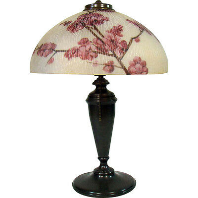 Pittsburgh Electric Table Lamp with Reverse-Painted Cherry Blossom Shade - Rare