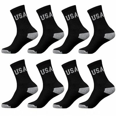 8 Pairs Usa CREW Mens Solid Sports Socks Cotton 10-13 Black Athletic Long Tube