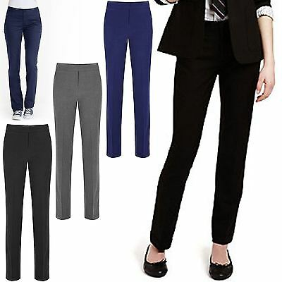 db025bb693b Girls Trousers Slim Fit Leg Kids School Uniform Pants Pull Up Bottoms 3-16  Years