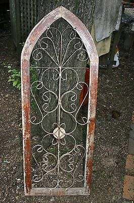 "47"" Arched Wood Window Frame~Distressed Paint~Weathered~Rusty Metal~Welded~Iron"