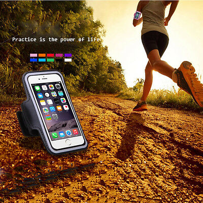 Sports Running Jogging Gym Armband Arm Band PU Case Cover Holder fr Phones Black