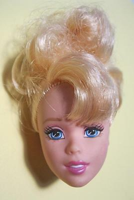 BARBIE Doll PRINCESS Cinderella Blond Up do-Gorgeous Face- HEAD ONLY-Nude Part