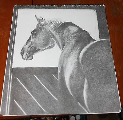 "Vtg Calendar 12 Horse Sketches Charcoal or Pencil Beautiful 13""x11.5"" Sketch Pad"