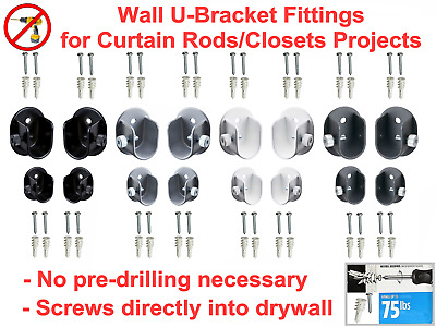 """2 Solid Steel Wall Fittings Brackets for Curtain Rod 3/4""""(19mm), 1 9/64""""(29mm)"""