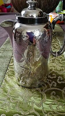 Antique Engraved  Silver Plated Coffee Pot Made in England