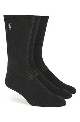 $42 POLO RALPH LAUREN Men 3 PAIR PACK Sport CREW SOCKS Black Nylon SHOE 6-12