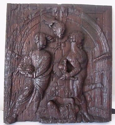ANTIQUE WOOD CARVED PANEL 16th Century