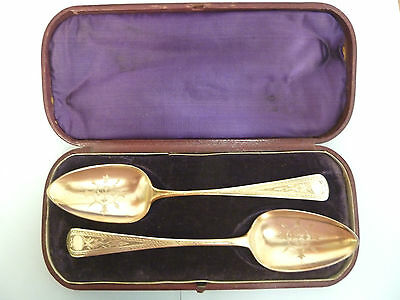 BOXED Pair of SOLID SILVER GILT Serving SPOONS. London 1793 / Exeter 1804