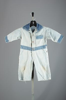 Vtg Jayanell Boy's 1930s 1940s Cotton Denim Chambray Play Suit #2906 Children's