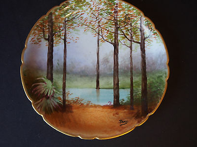 Antique Limoges Pouyat Hand Painted Wood Aquatic Autumn Tall Trees Cabinet Plate