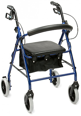Drive Medical R8BL-59 Lightweight Aluminium Padded Seat Rollator Blue (Eligible