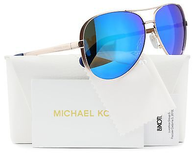 Michael Kors MK5004 Chelsea Aviator Sunglasses Rose Gold w/Blue Mirror 100325