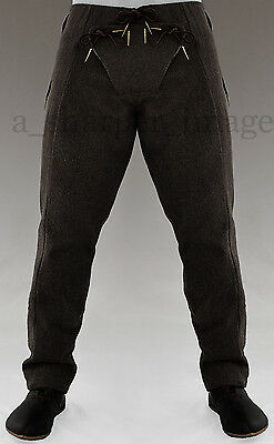 Medieval Pants BLACK Wool Knight SCA Costume Padded Codpiece