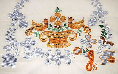 Vintage Paragon Cot Tablecloth + 12 Napkins To Finish Embroider -Flowers ROOSTER