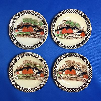 Rare Alexander Potteries England's Countryside Butter Pat Set of 4 Myott Son Co.
