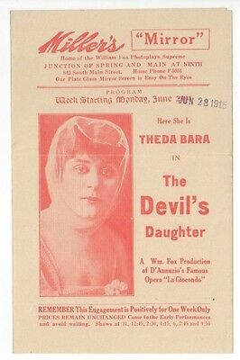 THEDA BARA Vintage 1915 Fox Film THE DEVIL'S DAUGHTER Silent Screen MOVIE HERALD