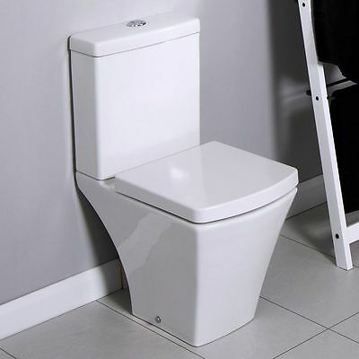 Compact Square Short Projection Close Coupled Toilet Cistern Wrap Over Seat