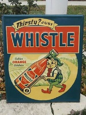 VINTAGE SCARCE THIRSTY JUST WHISTLE DRINK COLA SODA SIGN w ELF SUPER RARE PIECE