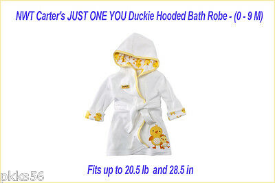 NWT Carter's JUST ONE YOU Duckie Hooded Bath Robe - (0 - 9 M)