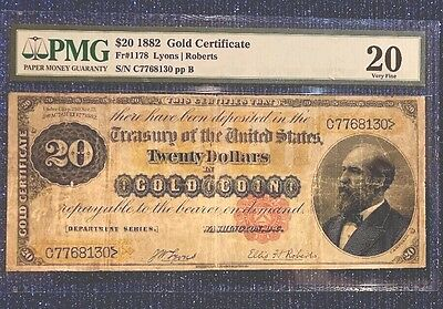 1882 $20 Gold Certificate Fr 1178 Very Fine Condition.