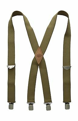 DICKIES 1-1/2 Wide Solid Straight Clip X-Back Shape Suspender FOR MEN - BEIGE