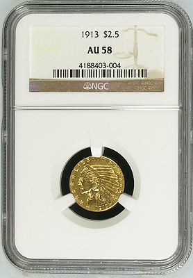 1913 $2.5 Indian Gold Coin ~ Great Looking 2 1/2 Dollar Quarter Eagle ~ NGC AU58