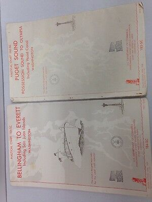 1968 Nautical Charts Puget Sound Possession to Olympia/ Bellingham To Everett/2