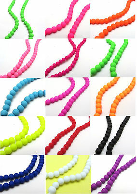 New Loose Charm 100pcs 6MM Matte Rubber Neon Round Glass Spacer Beads Pick